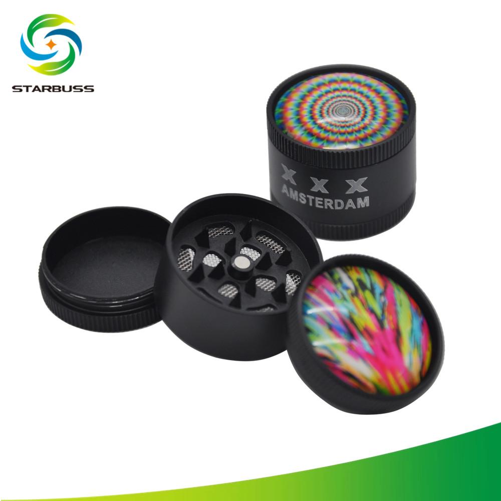 starbuss diy 3d amsterdam 30mm herb grinder black uv printed