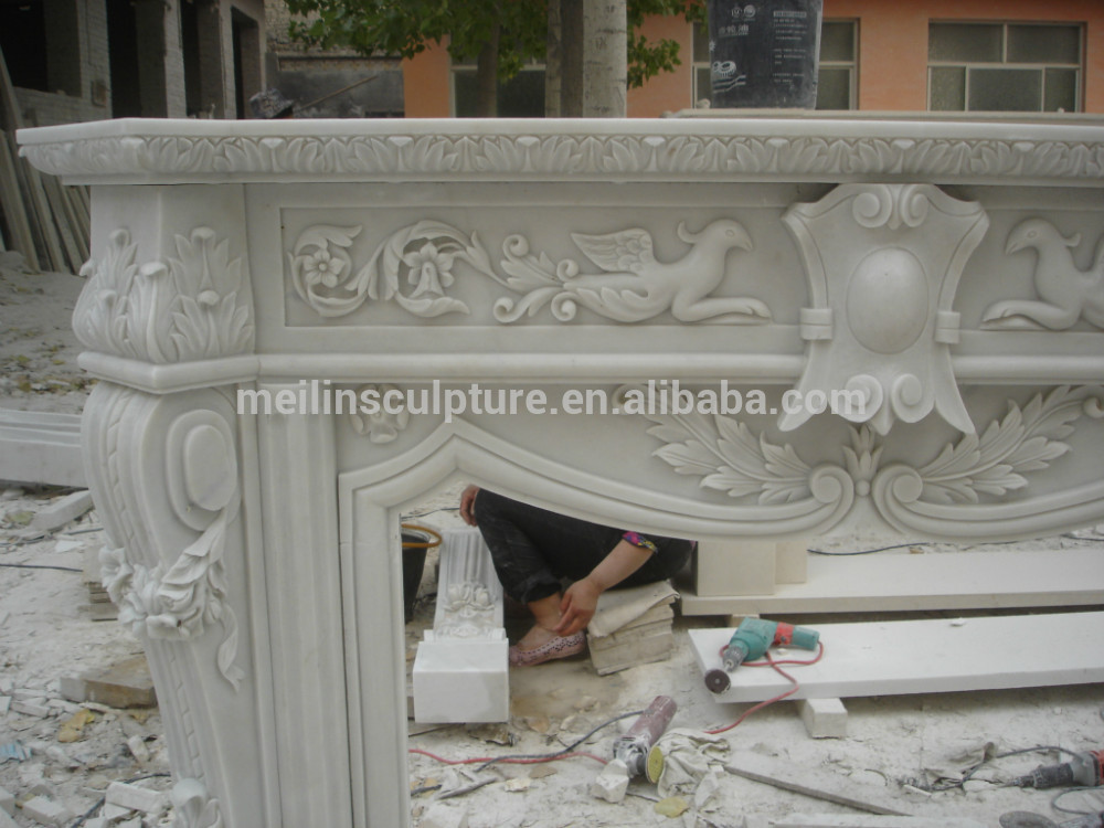 yellow marble hand carved double layers simply fireplace mantel