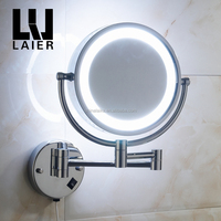 Magnifying wall mounted 2-face makeup illuminated mirror with led light hotel bathroom brass round smart chrome mirror