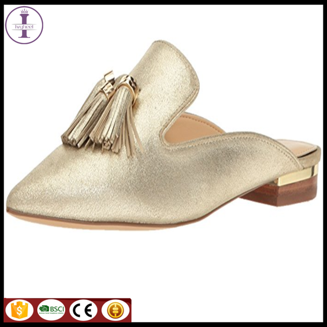 Big size cheap price and small MOQ 2017 Women Genuine Leather Slipper for Bulk Order