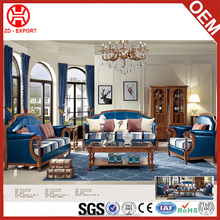 Simple american style blue color classic leather sofa furniture