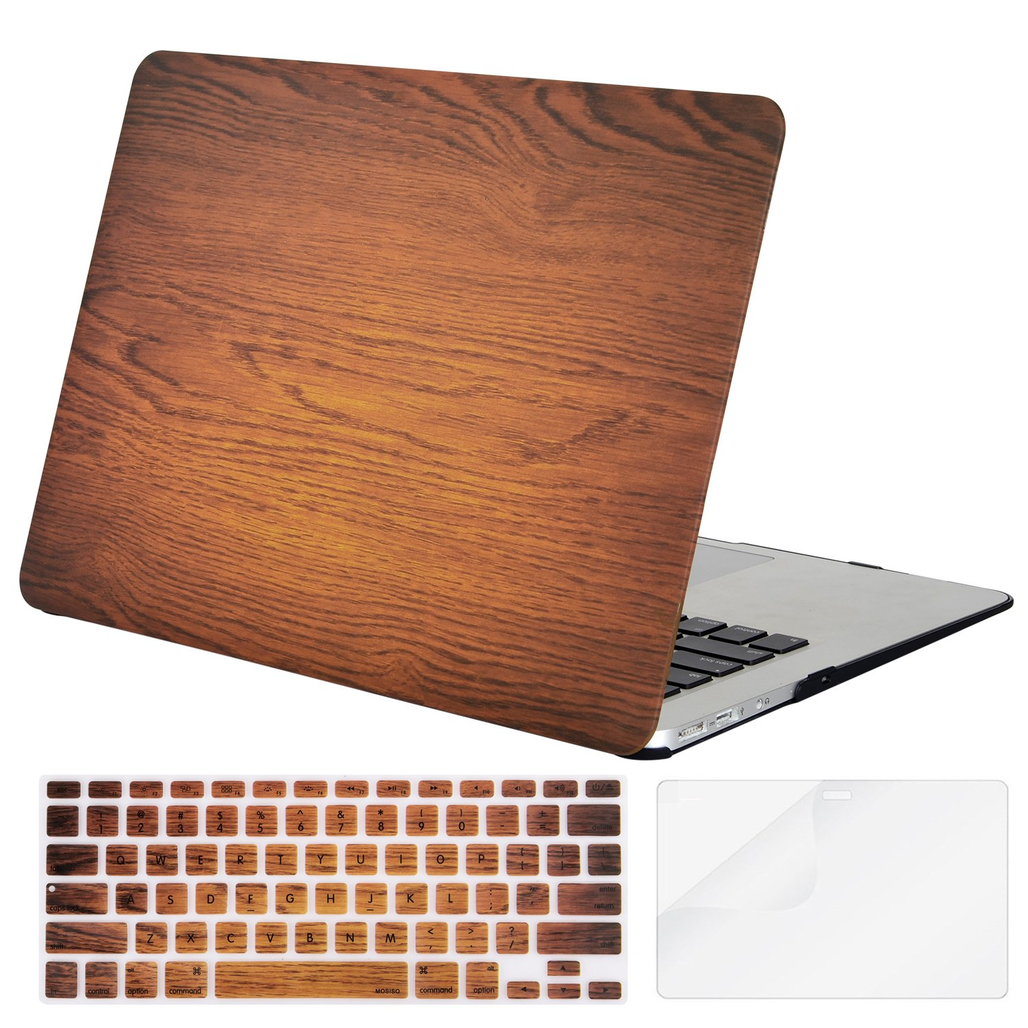Mosiso Plastic Hard Case with Keyboard Cover with Screen Protector for MacBook Air 13 inch (Model: A1369 and A1466 ), Wood Grain