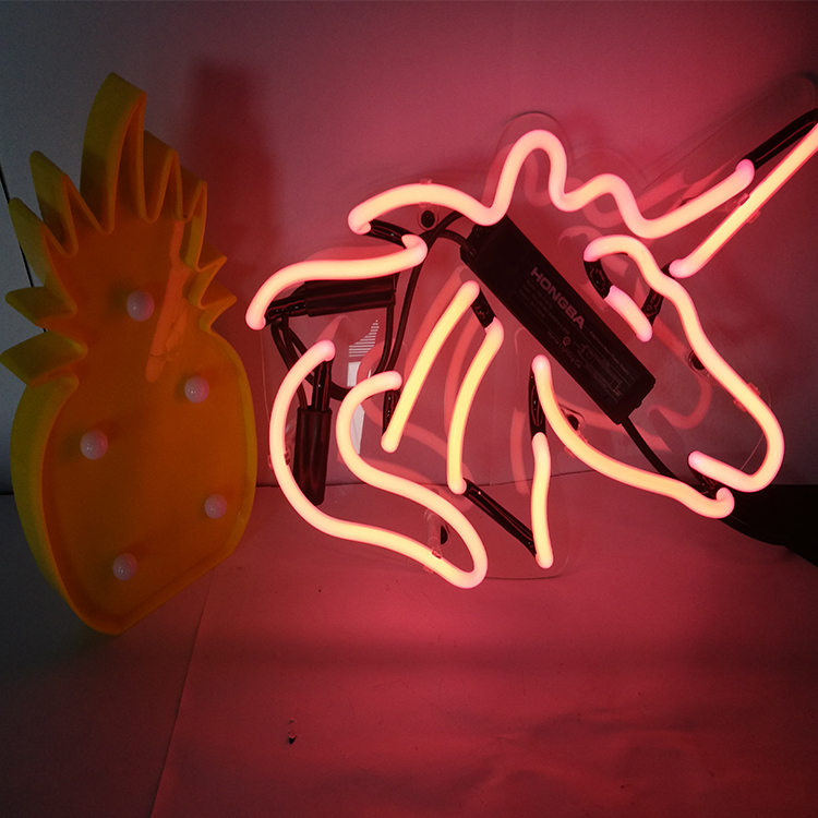 wall mouted unicorn glass tube neon <strong>sign</strong> with acrylic
