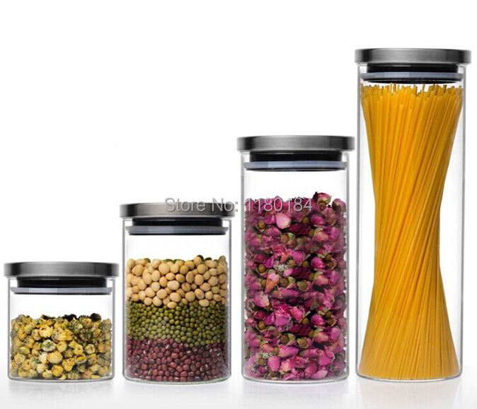 Buy 1PC Transparent glass canister kitchen storage containers food