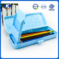 Plastic funny promotional two compartments pencil case for students