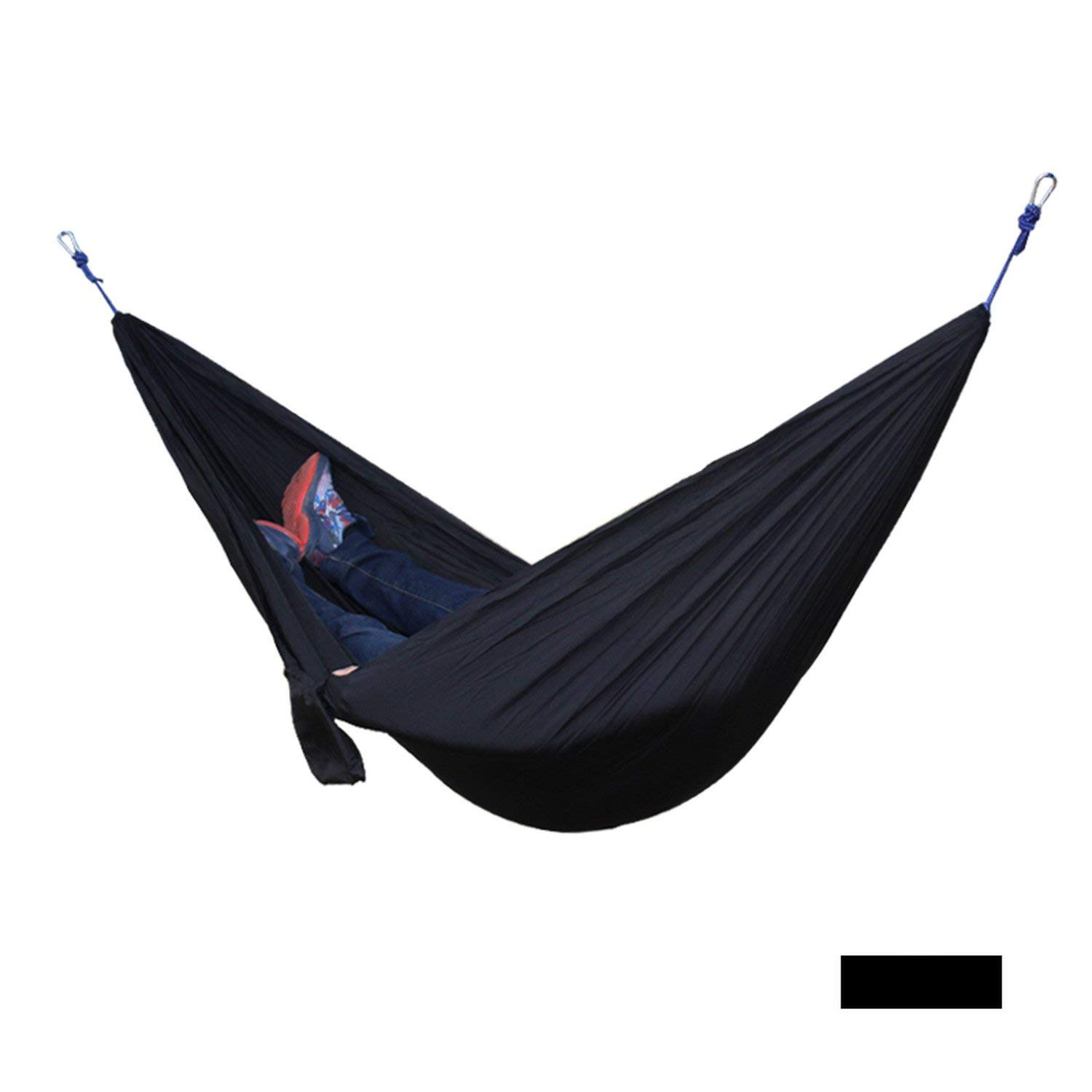 Mandaartins 24 Color 2 People Portable Parachute Hammock Camping Survival Garden Flyknit Hunting Leisure Hamac Travel Double Person Hamak,black