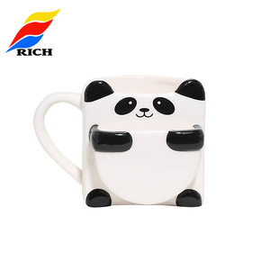high quality black And white panda shape custom ceramic coffee mug cup
