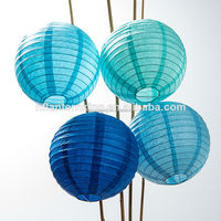 12 Pack of 8 Inch Multicolor Blue No Frills Paper Lanterns