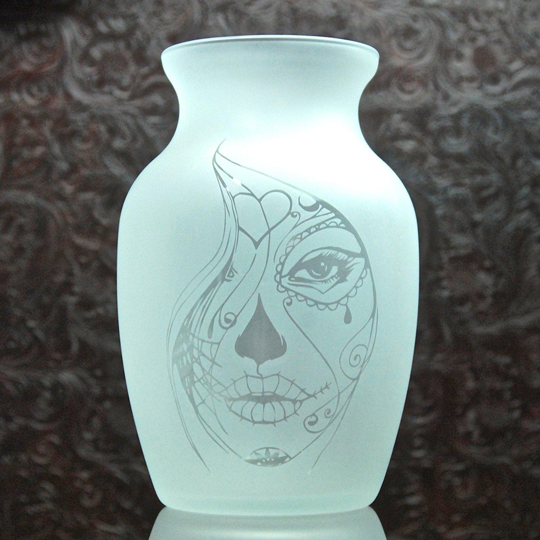 7.5 Inch Glass Etched Sugar Skull Vase - Design 4