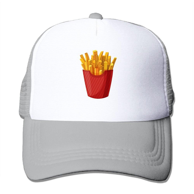 Crazy Popo Outdoor Sports Hat - French Fries Adjustable Trucker Hat Cap Adult Unisex Baseball Mesh Cap