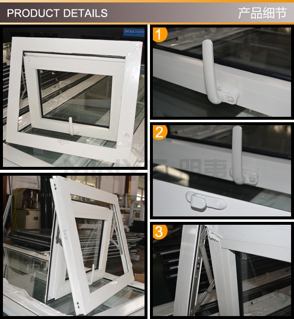 Aluminum awning window with double tempered glass/awning window opener/top hung casement windows