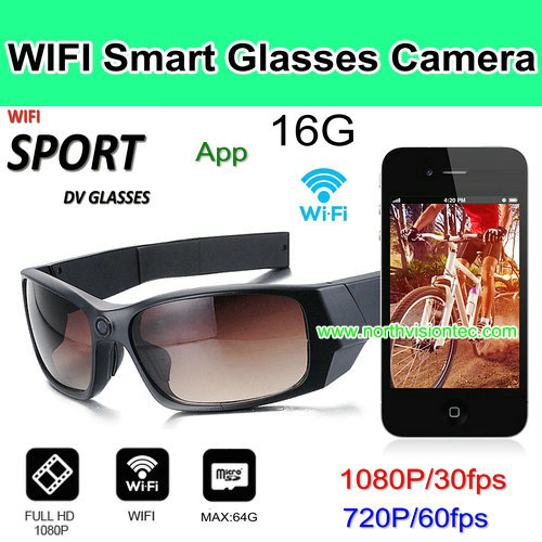 WIFI video camera sunglasses,1080P/30fps, 720P/60fps, H.264, App Control, 16GB, Build Two Battery