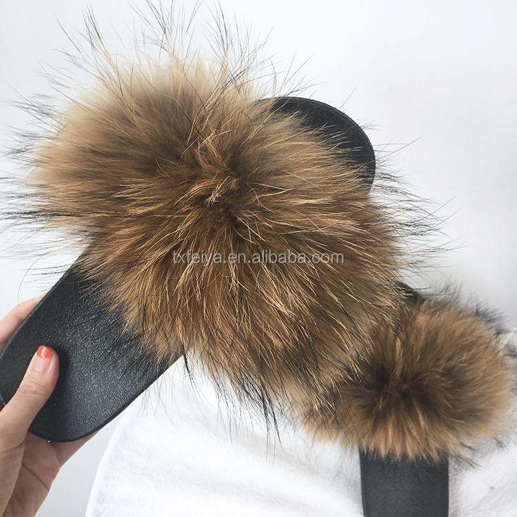 c736dfa98c1d Top Selling Women Real Fur Sandals Natural Raccoon Fur Slippers ...