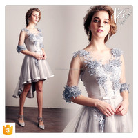 Elegant Short Sleeve Front Short Back Long Grey Floral Evening Prom Party Dress Evening Gown
