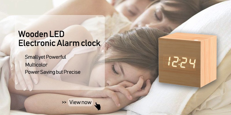 JINSUN Creative Portable Personalized Desk Clock Wood Clock Modern Digital Alarm Clock For Kitchen