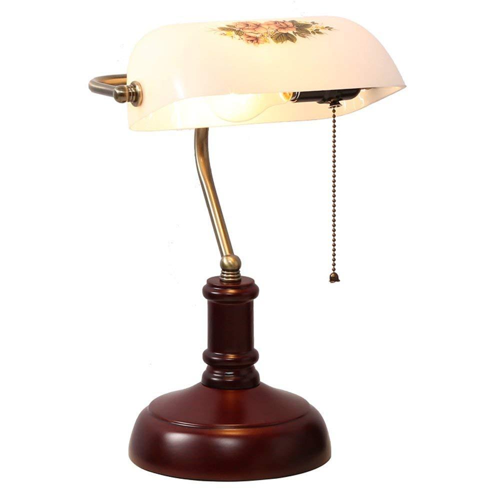Classic banker table lamp 19th century retro office table lamp, white glass lampshade table lamp, wooden base reddish brown/E27