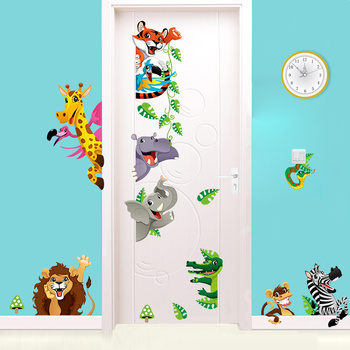 ZY1235 Wholesale Colorful Cartoon Forest Animal Kids 3D Wall Sticker