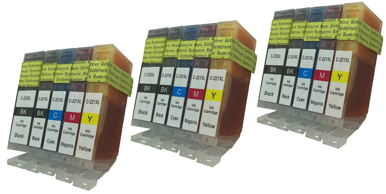 15-Pack (3 each) Ink with CHIP for PGI-220BK CLI-221 Canon PixmaCanon iP3600 iP4600 MP560 MP620 MX860 MP980
