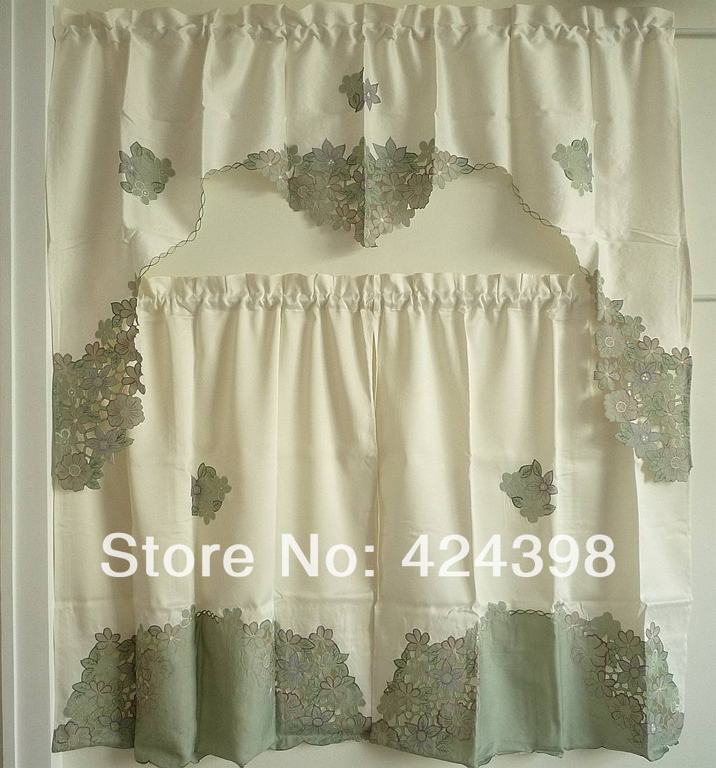 buy simple and elegant kitchen curtains set of curtain embroidery flower fabric. Black Bedroom Furniture Sets. Home Design Ideas