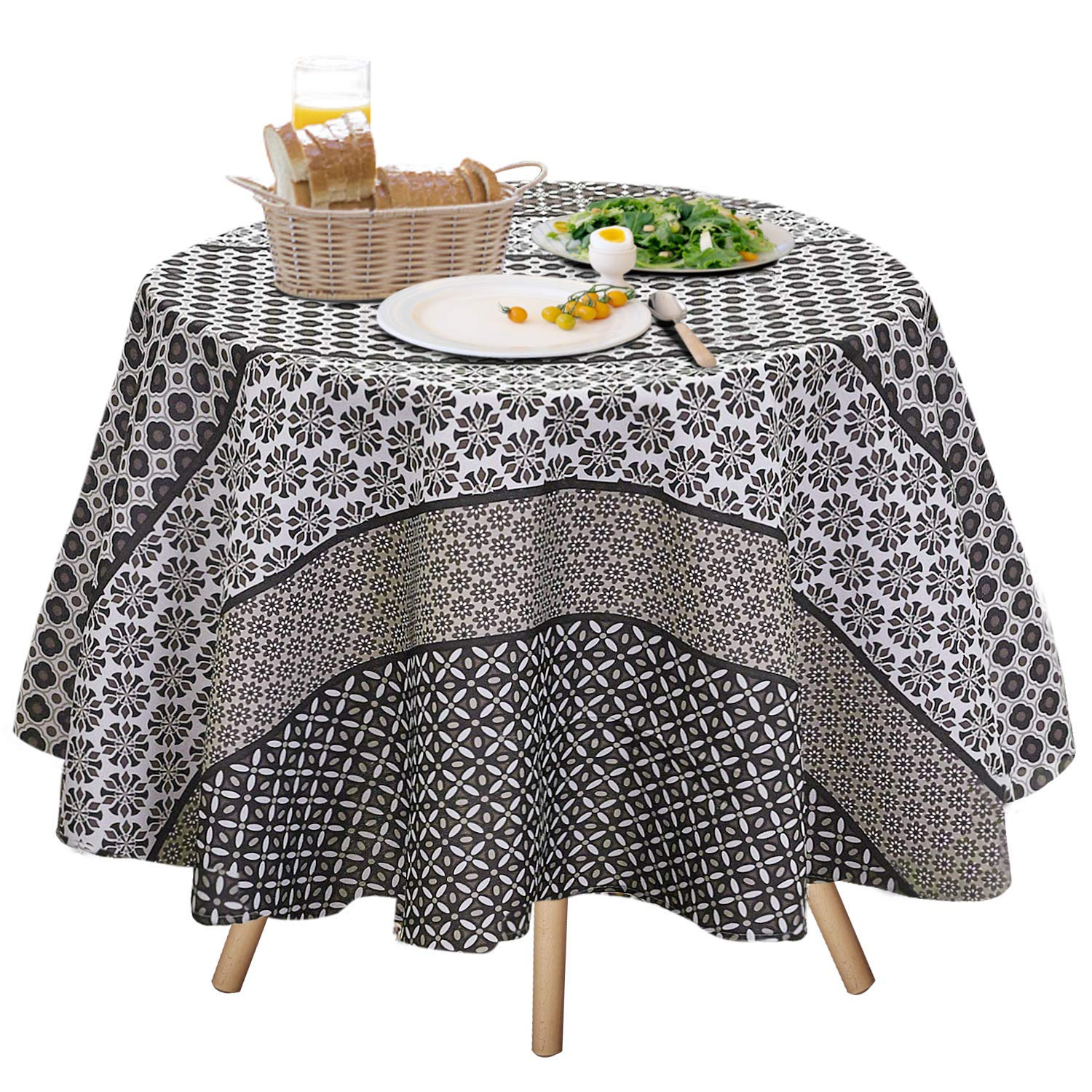 Jiater Fl Printed Table Cloth Spillproof Polyester Fabric Round Tablecloths 70 Coffee