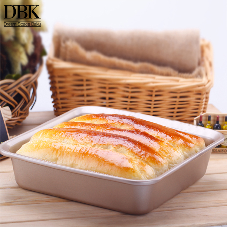 New design baking tray bakery Gold Non-stick Loaf Bread Pan 7.5 inches 2 Pack Square Cake Pan