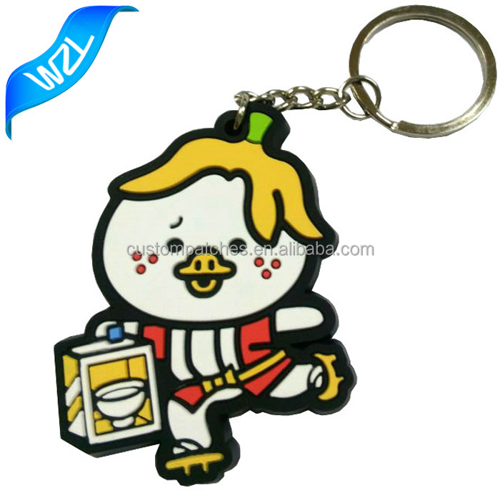 Custom logo brand Rubber PVC Keyring as gift