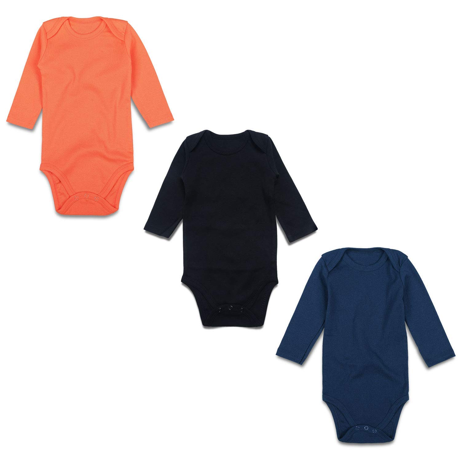 OPAWO Baby Cotton T Shirt Solid Color V-Neck Tops 3-Pack Boys Girls Short Sleeve Summer Tee Outfits 0-24 Months
