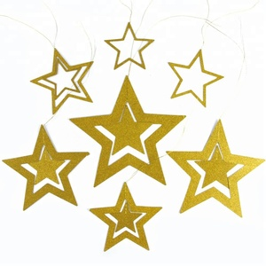 Gold Glitter Five Star Hanging Garland Goden Star String Decorations