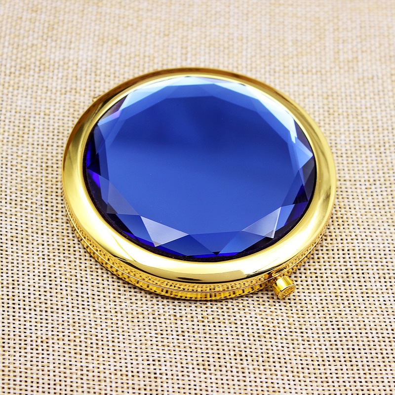 2018 Fashion Gold double-sided Round crystal MakeUp Pocket mirror