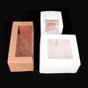 folded paperboard cute cake box, wedding window cardboard cupcake paper box design,muffin packaging