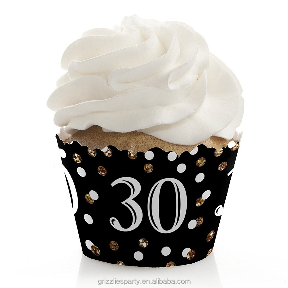 Adult 30th Birthday - Gold - Birthday Party Cupcake Wrappers 30