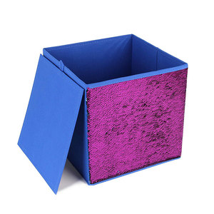 "Two Tone Sequins Storage Bins, 12""x12""x12"" Fabric Foldable Cube Organizer Drawer"