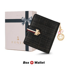 FOXER держатель для карт из спилка, женские кошельки, дизайнерский Кошелек для монет, кошелек на молнии для девочек, Высококачественный коротк...(Китай)