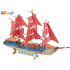 DIY Custom 3D Jigsaw Wooden Toy Boat Sailing Ship Puzzle Laser Cutting Wood Assembly Kits European Sailing Ship