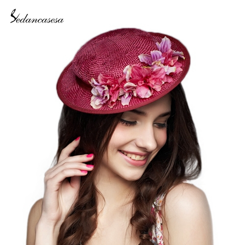 0ca026f79ba Get Quotations · Handmade Woven Straw Hat Formal Hat With Flower Beach Hat  For Lady Evening Party Wedding Fascinator