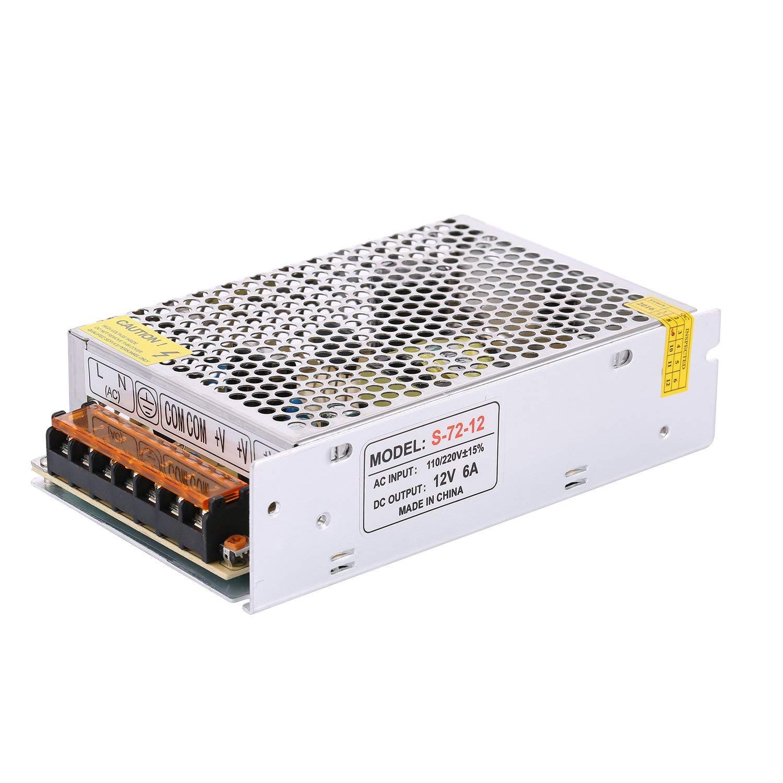 COOLM 12V 6A Switching Mode Converter, AC/DC Power Supply Adapter Transformer, AC 110V/220V to DC 12V 6A 72W LED Strip Light Power Supply