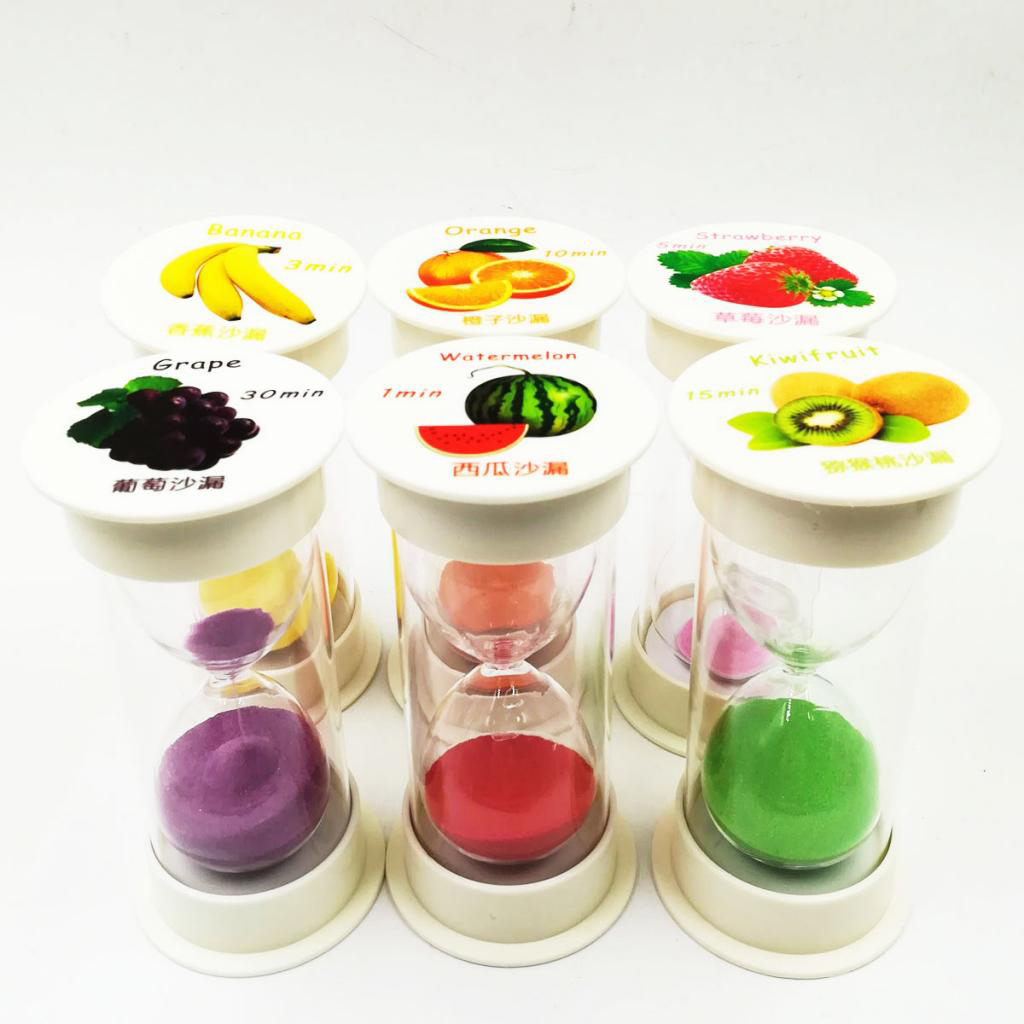 1/3/5/10/15/30 Minute Sand Egg Timer Kids Games Racing Timing Countdown  Teeth Brushing Sand Glass Hourglass 6 - Set