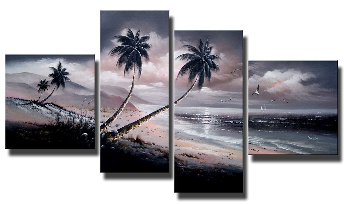 Ode-Rin Art Christmas Gift on Hand Painted Oil Paintings Gift Beach 4 Panels Wood Inside Framed Hanging Wall Decoration - (20x20Inchx2, 12x32Inchx2)