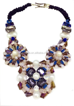Fashion Big Bold Luxury Bohemian Statement Crystal Necklace For Party,Boho Jewelry Necklace