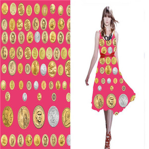 Buck Coin Printing 100% Silk Fabric For Tie For Girl