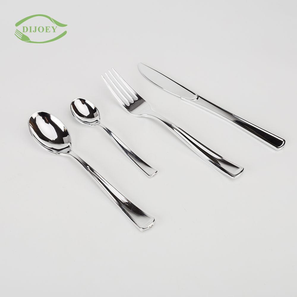 Wedding silver airline cutlery set disposable spoon and fork plastic