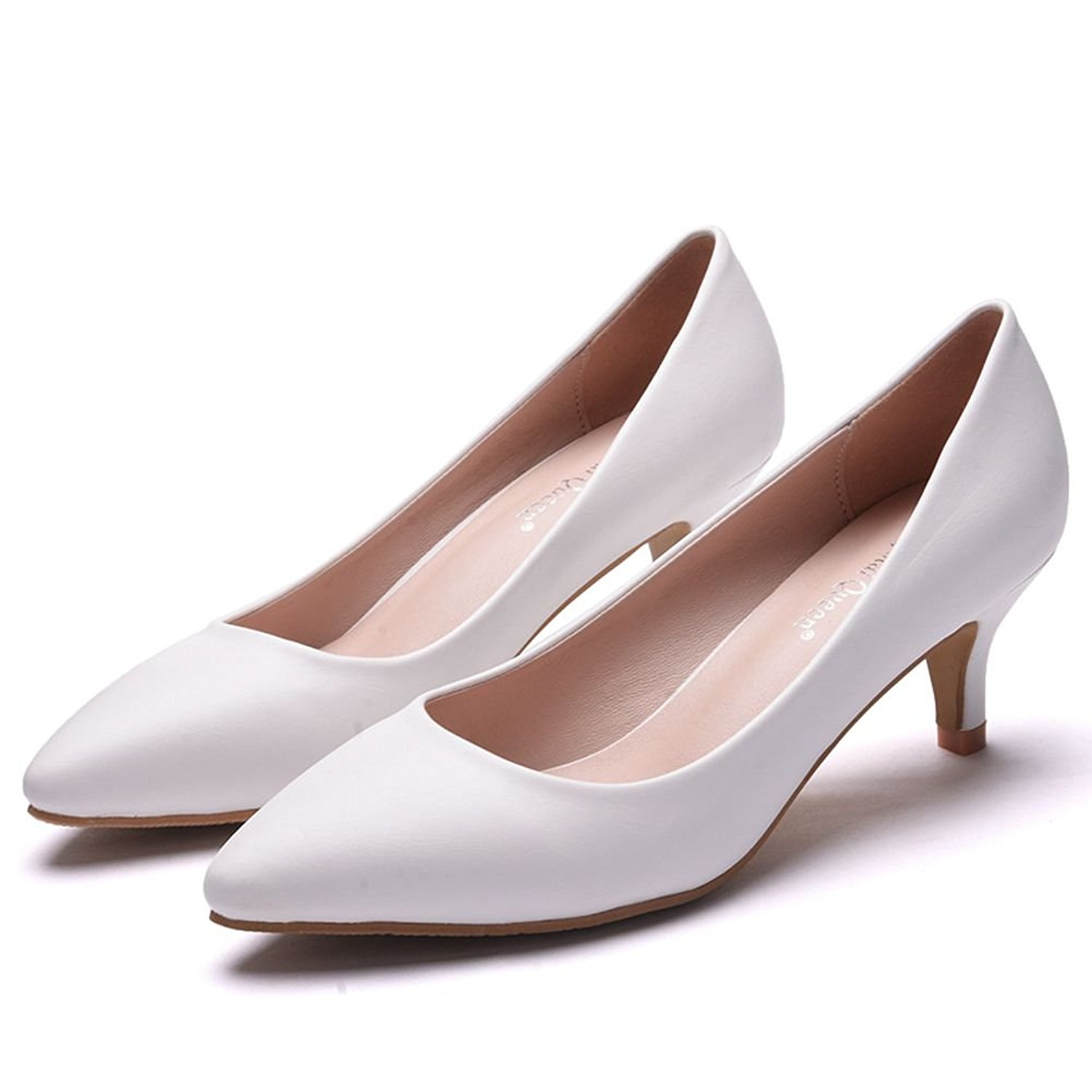 09ea925129a Get Quotations · 5CM Thick Heel Shoes Low Kitten Heel Pumps for Women Black Pointed  Toe Dress Shoes White