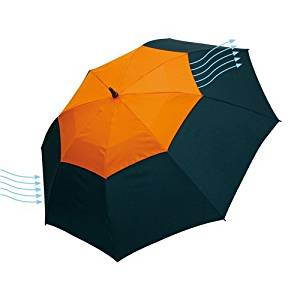 Big orange Golf umbrella 51,96 inch Herkules - with a ventilation system, fibreglass shaft and ribs, plastic tips and plastic handle with a nylon canopy, closure with Velcro (Red, 51,96 inch)
