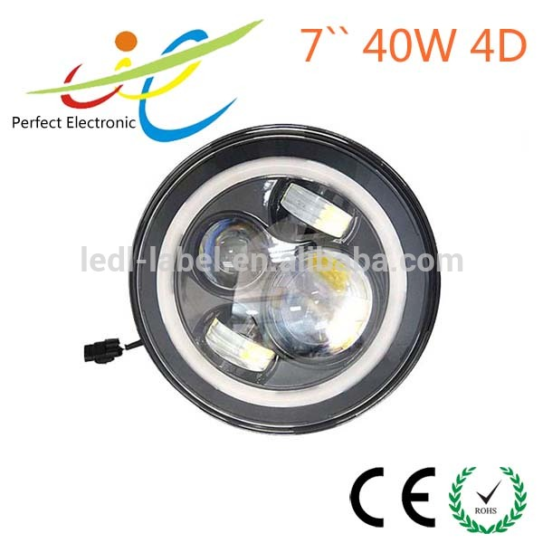 "7"" 7 Inch 40w Cree HID LED Projector Headlights H4 H13 Hi/lo with White Amber Halo Angel Eyes for Jeep Wrangler Jk Lj Cj Hummer"