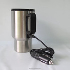 450ml Electric Heated Stainless Steel Cup Travel Mug,New Thermal Travel Cup Car Adaptor Electric Thermos Bottle Heating Mug