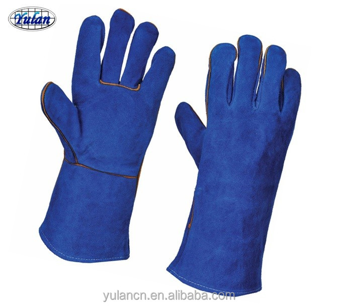 Yulan LC50X 14 inch cowhide leather protective hand welding gloves industrial safety equipments