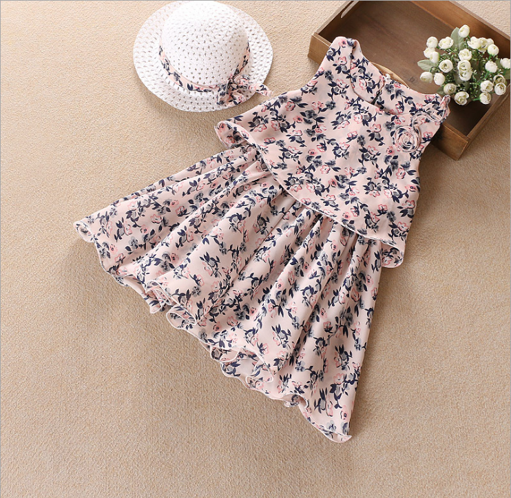 New design child floral print frock Kroean chiffon Splicing dress for girls