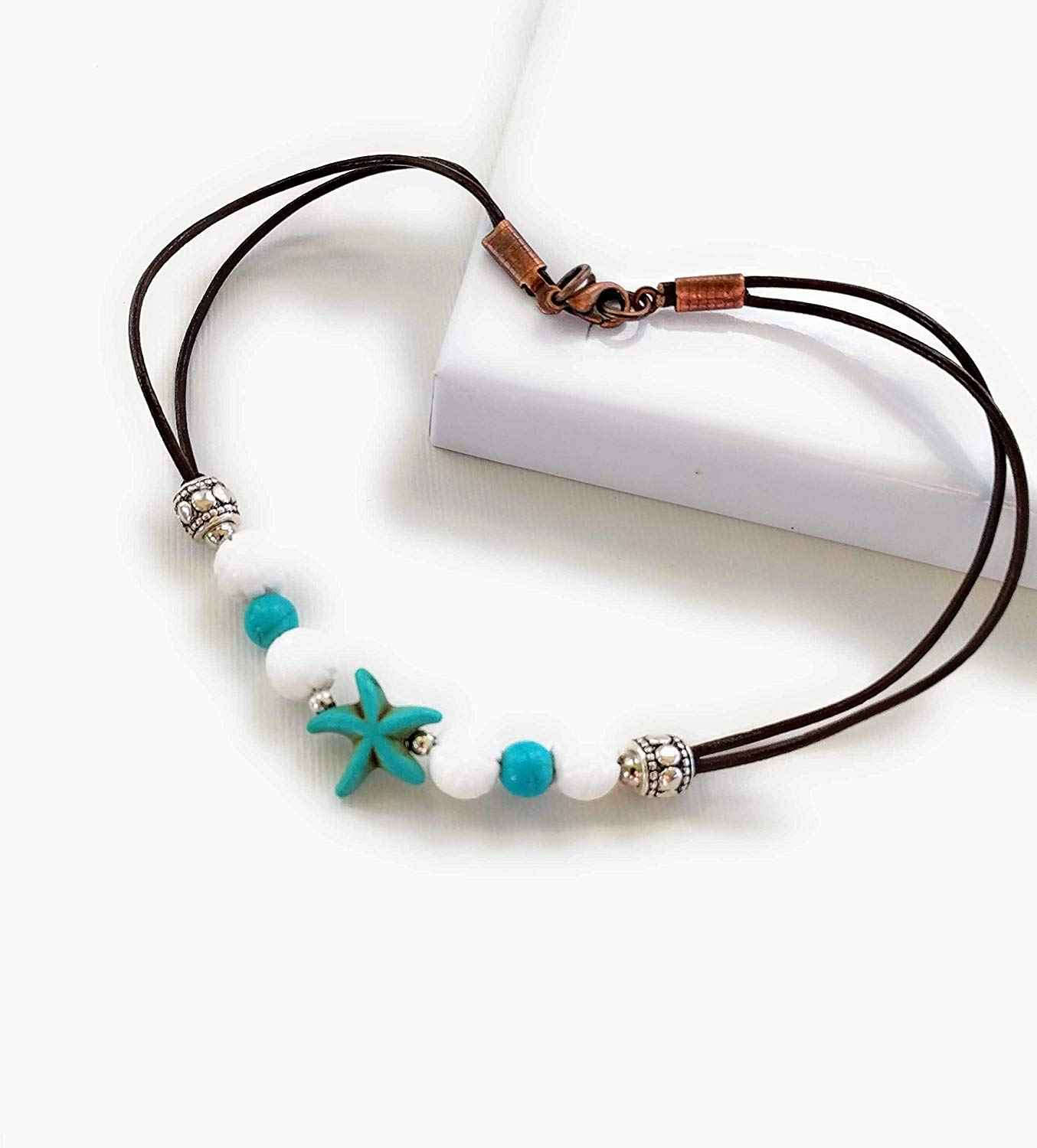 Beach Foot Bracelet Stone Handcrafted Anklet CHENCAN01 Turquoise Anklet Turquoise and Snow Ankle Bracelet