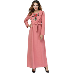 Zakiyyah 7432 New Fashion Wedding Muslim Caftan with Flower Embroidery Plus size adult women Abaya Ruffle design