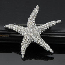 Latest Design Shining Rhinestone Sea Star Brooches Alloy Brooches For Party
